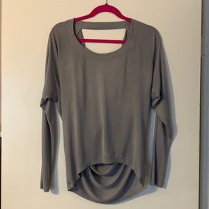 Sexy Grey long sleeve top with open back